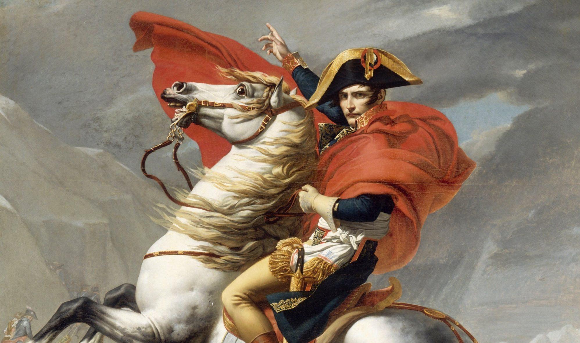 愛馬のマレンゴにまたがるナポレオン