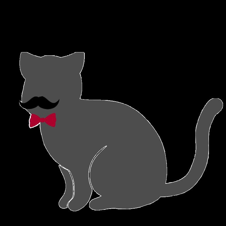 カイゼル髭ど蝶ネクタイが特徴的な猫のシルエット