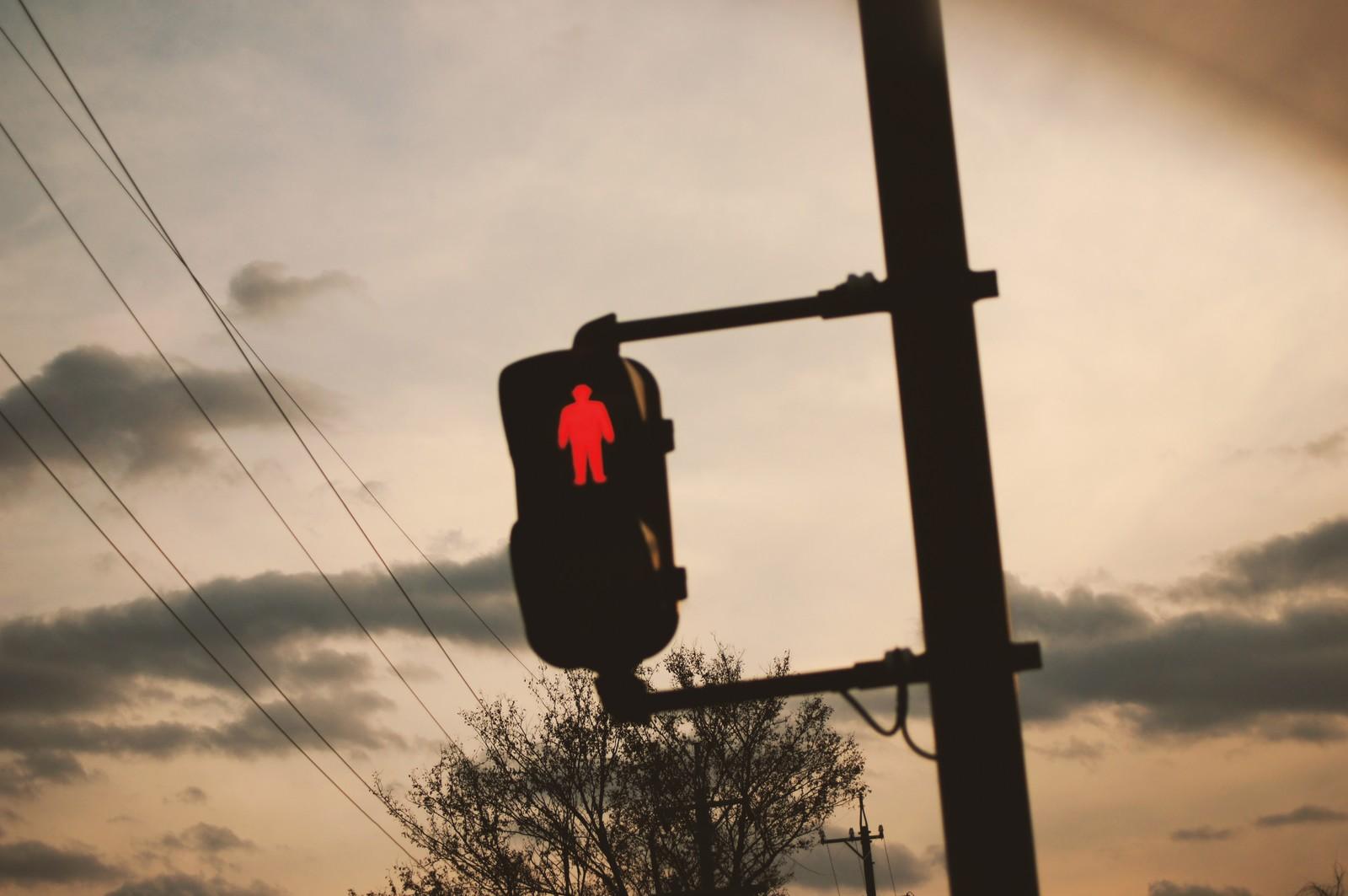 夕方のオレンジと信号